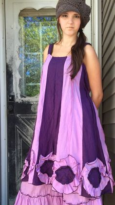 Pink and Purple Linen Flower Bottom Dress by sarahclemensclothing