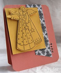 Stamps by Stampendous!, inks and Gold Embossing Powder by IMAGINE Crafts/Tsukineko. Card created by Tenia Nelson.