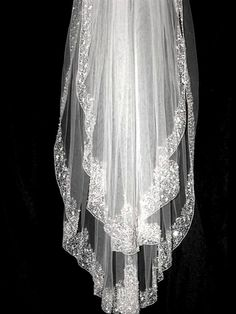ROYAL COLLECTION -CUSTOM ORDER - Gorgeous couture Swarovski crystal beaded bridal veil - SALE!! Zoom