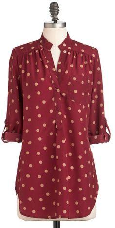 ModCloth Fun 2 Fun/JNP Fashion Inc. Hosting for the Weekend Tunic in Merlot on shopstyle.com