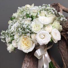 d94214e395f8 Νυφική Ανθοδέσμη Γάμου Λευκά Τριαντάφυλλα Μίνι Γυψοφύλλη