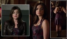 Aria's purple paisley dress and brown leather jacket on Pretty Little Liars.  Outfit Details: https://wornontv.net/4065/ #PLL