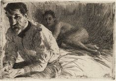 Zorn, drawing - great use of lines to produce tone and thus create atmosphere.