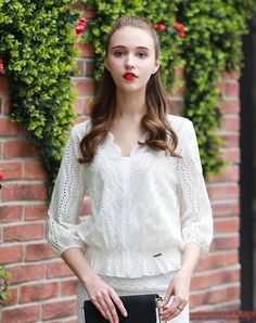 #VIPme White Lace Cut Out V Neck Long Sleeve Top ❤️ Get more outfit ideas and style inspiration from fashion designers at VIPme.com.