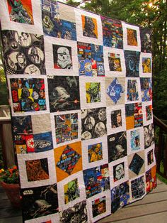Yes, another Star Wars quilt finished!        I framed in some of the larger character prints and added various blocks to give my buddy M ...