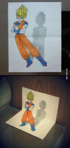 My anamorphic Goku drawing for all the Dragon Ball Z fans