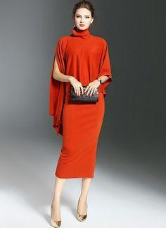 Polyester Solid Short Sleeve Mid-Calf Vintage Dresses (1955121364)