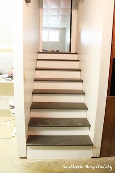 Great tutorial on how to install new stair treads... at a cheap cost rather than buying them premade from some website thats waaayyy more expensive... exactly the info I was looking for!