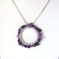 Amethyst Wire Wrapped Donut Pendant with Silver Chain by Pookledo, £8.00