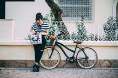 Listras, bike, Petite Jolie, bolsa, coturno, basic, look, outfit, striped, dots, bicicleta, bag, mixed print, black, comfy,