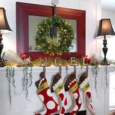 Weeping Cedar Garland Christmas Mantel ~~ Let your imagination soar when it comes to your holiday mantel. Heidi (homebyheidi.blogspot.com) received a lot of compliments on her colorful, leopard-lined stockings and weeping cedar garland. Heidi used oversize ornaments to convey strength and cohesion. A glass doorknob adds height and provides a place to hang a pretty wreath.