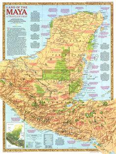 Vintage Map 1989 Land of the Maya National by Mapsfishingandbeyond, $16.50