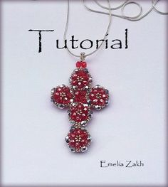 Beading tutorial.Pattern.Tutorial.Exclusive.PDF file containing instructions for making the Crystal Cross Pendant, not the pendant itself.