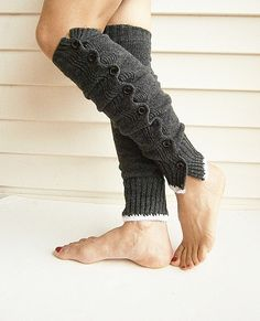 Knit Leg Warmers Boot Cuffs Socks Dark Grey White by knitwit321