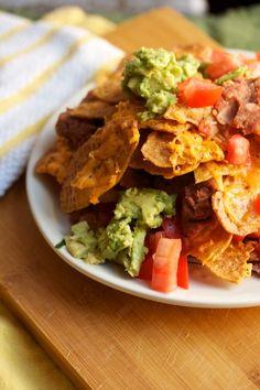Vegetarian nachos with avocado, refried beans and #fstg Sweet Potato Tortilla via Big Girl Small Kitchen.