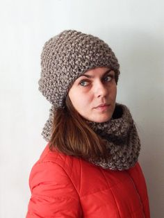 Alpaca chunky oversized knit hat and cowl scarf set, knit snood / circle scarf, knit neck warmer, women's knit winter hat, women's cowl by SanniKnitting on Etsy