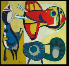 Karel Appel-2 Vögel mit Blume