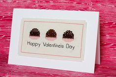In Color Order: Valentine's Day Cross Stitch Card Tutorial Cross Stitch Love, Cross Stitch Cards, Cross Stitching, Cross Stitch Embroidery, Cross Stitch Patterns, Quilting Tutorials, Quilting Projects, Valentine Day Crafts, Happy Valentines Day
