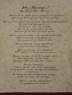 Hand Penned Calligraphy - Why Marriage Poem