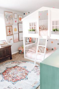 Bunk Beds For Girls Room, Big Girl Bedrooms, Bunk Bed Rooms, Little Girl Rooms, Bunk Beds For Toddlers, Toddler Girl Bedrooms, Colorful Girls Room, Toddler Bedroom Ideas, Kids Bedroom Ideas For Girls Toddler