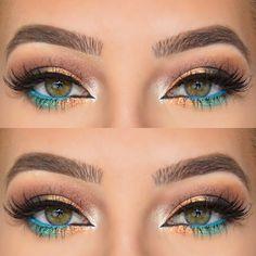 Peachy Orange + Blue & Green Summer Eye Makeup