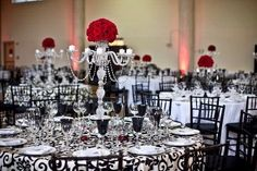 Red rose, table lamp, black and white centerpieces