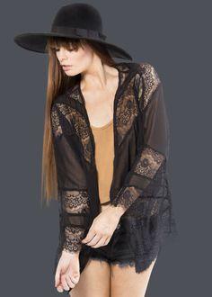 Under Your Spell Black Lace Kimono