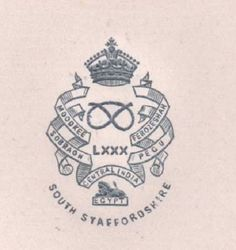 C1900 80TH FOOT SOUTH STAFFORDSHIRE REGT PAPER EMBOSSED LETTERHEAD CREST