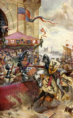 Joust held on London Bridge. Combat between David de Lindsay, Earl of Crawford, and Lord John de Wells, Richard II's ambassador to Scotland, in the presence of the King and his court, 1390. Illustration for Hutchinson's Story of the British Nation (Hutchinson, c 1920).