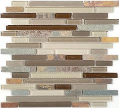 slate tile | Bella Glass Tiles - Glass and Slate Series Rustic Taupe Random Brick ...