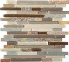 slate tile | Bella Glass Tiles - Glass and Slate Series Rustic Taupe Random Brick ...