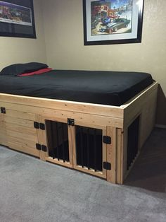 Bed with built in dog crate.