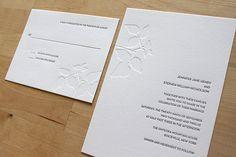 Items similar to Minimalist Letterpress Wedding Invitation - Classic, Elegant, Simple - Letterpress Wedding Invite on Etsy Spring Wedding Invitations, Minimalist Wedding Invitations, Letterpress Wedding Invitations, Invitation Envelopes, Invites, Invitation Ideas, Wedding Paper, Ivy Leaf, Trendy Wedding