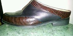 Ariat Clogs Slides Black Leather Brown Croc Embossed Slip On Sz 8.5 EUR 39.5