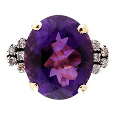Art Deco Amethyst DIamond Gold Ring | From a unique collection of vintage fashion rings at https://www.1stdibs.com/jewelry/rings/fashion-rings/