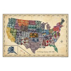 Kevin Peskin, a self-taught artist based in Georgia, created this vibrant USA Stamp Map using his grandfather's stamp collection. This complex artwork, representing all 50 states, is made with over 300 vintage stamps.