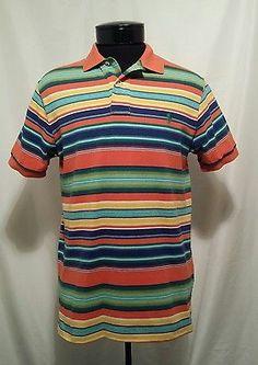 e5b88c388a08b Polo Ralph Lauren Shirt Men s Bright Colors Striped Polo Green Orange Medium