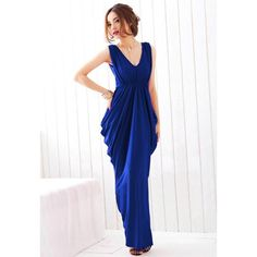 Sweet Style V-Neck Ruffled Bowknot Design Elastic High Waist Backless Polyester Women's Dress, BLUE, ONE SIZE in Maxi Dresses | DressLily.com