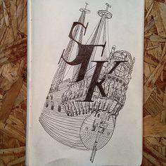 Sketch - Stockholm's Vasa ship - Glauber Genko