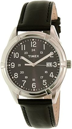 8ba10acbdcbc Timex Men s TW2P767009J City Collection Silver-tone Watch with Black  Faux-Leather Band