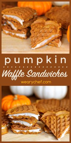 These homemade pumpkin waffle sandwiches are stuffed with fall spiced cream cheese. Perfect snack, breakfast, or dessert treat!