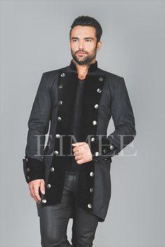 Velvet and Cotton Steampunk Jacket coat for Men RENEE by EimeeGB