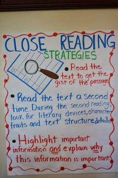 Literacy & Math Ideas: Common Core Close Reading: How to Closely Read Text.good to start this off with short passages or stories, in this way students will truly see the value of rereading. Reading Lessons, Reading Skills, Teaching Reading, Teaching Ideas, Guided Reading, Reading Resources, Cloze Reading, Reading Stamina, Reading Logs