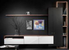 Interstar # wall cupboards, # dividers, # modern # cupboards # with # Hoogebee … - TV Unit Tv Unit Furniture, Home Furniture, Furniture Design, Tv Wall Design, House Design, Muebles Rack Tv, Tv Wanddekor, Living Room Tv Unit Designs, Tv Unit For Bedroom
