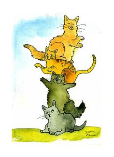Cats Greeting Card Funny Cats Watercolor Painting