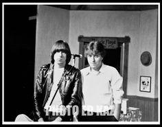 Johnny Ramone with Charlie Stoddard on set of Uncle Floyd Show.  Newark NJ 1982. #EdKazPhoto