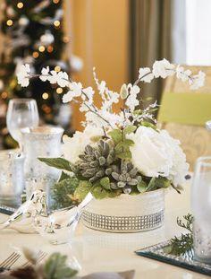 Crystal Elegance: Succulents and Winter Foliage Floral Arrangement