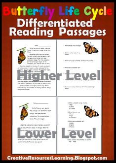 Butterfly Life Cycle Differentiated Reading Passages for Grades including hands-on paper butterfly box craft to complete Reading Stories, Reading Passages, Reading Resources, English Language, Language Arts, Life Cycle Stages, Reading Comprehension Skills, Butterfly Life Cycle, Guided Practice