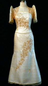 Mestiza Gown Sparkle and shine on your occasion day in this Filipiniana gown with matching mestiza-sleeve bolero. Featuring alluring details such as an embellished bodice and a dainty bolero, this stunning gown will have you at your most sophisticated. Filipiniana Wedding, Filipiniana Dress, Wedding Gowns, Barong Wedding, Wedding Attire, Philippines Dress, Philippines Fashion, Barong Tagalog, Filipino Wedding