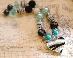 Zebra Heart Chunky Necklace Bubble Gum by MilestoLondonDesigns, $22.00